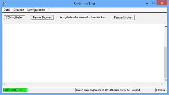 "Protokollsoftware ""Seriell to Text"""
