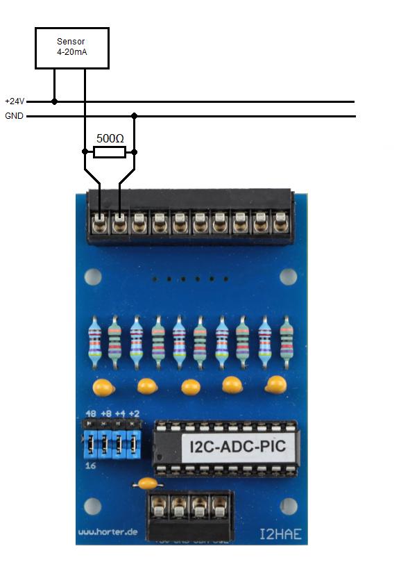 So kann ein 2-Draht Fühler 4-20mA an die Eingangskarte angeschlossen werden