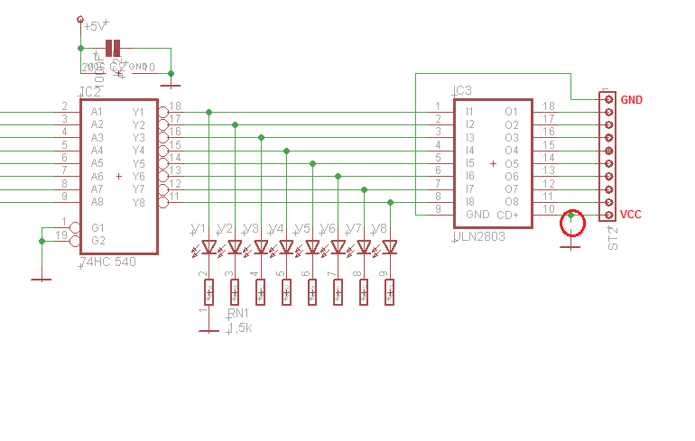 Schaltungsauszug I2HA-Baugruppe mit ULN2803