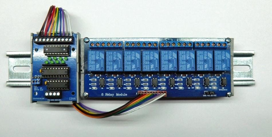 8 Relay module an der I2HA-Ausgabekarte
