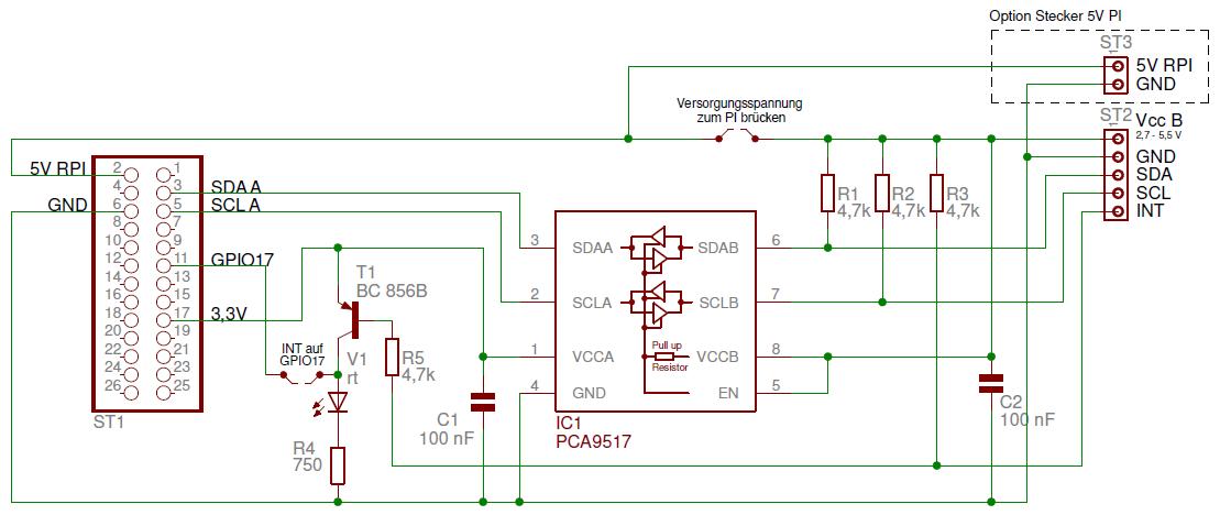 Schaltplan zum I2C-Repeater V2
