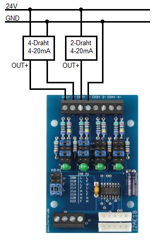 2-Draht oder 4-Draht Sensoren am MCP3424