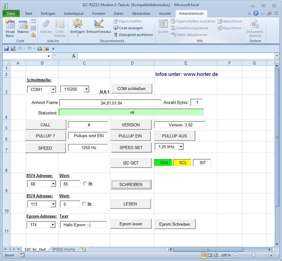 I2C RS232 Modem 2 Programmbeispiel / I2C RS232-Interface program Example