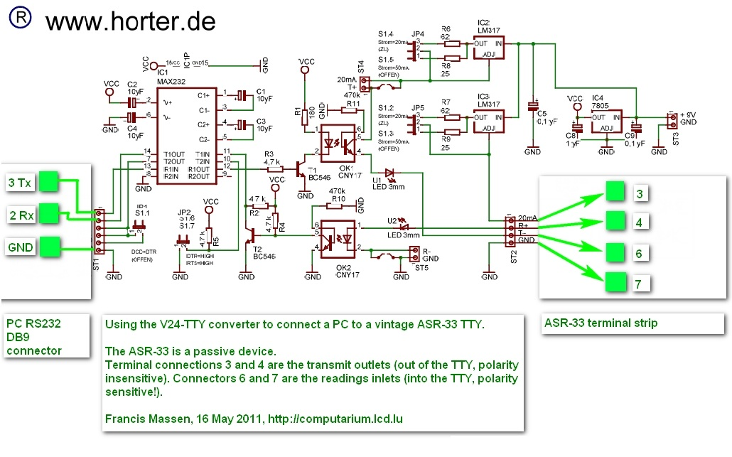 Anschlussbeispiel TTY Wandler zum Fernschreiber ASR-33 / connection ...